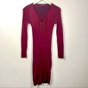Romeo & Juliet Couture ribbed lace up knit dress